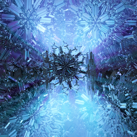 Icy crystals dark blue abstract 3d illustration, vertical, background