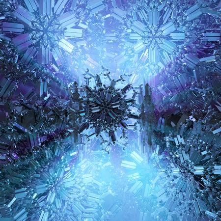 Ijzige kristallen donkerblauwe abstracte 3d illustratie, verticale, achtergrond Stockfoto