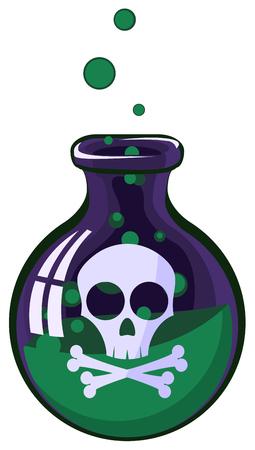 lethal: Cartoon poison jar, vector illustration, vertical, isolated Illustration