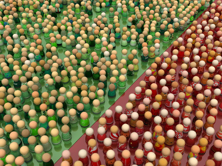Crowd of small symbolic figures, green and red color, 3d illustration, horizontal Stock Photo