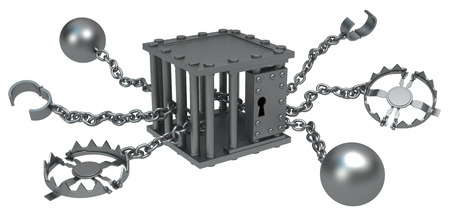 restraint: Traps chain with cage center, dark metal 3d illustration, isolated, horizontal, over white Stock Photo