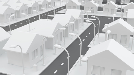 residential structure: Small white house neighborhood roads, 3d illustration, horizontal