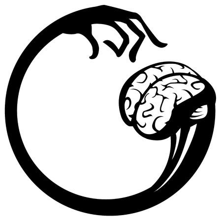 puzzling: Brain pick round symbol stencil black, vector illustration, isolated