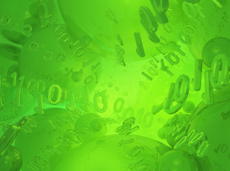 Virtual digits abstract 3d illustration, green reflections, horizontal background Stock Photo