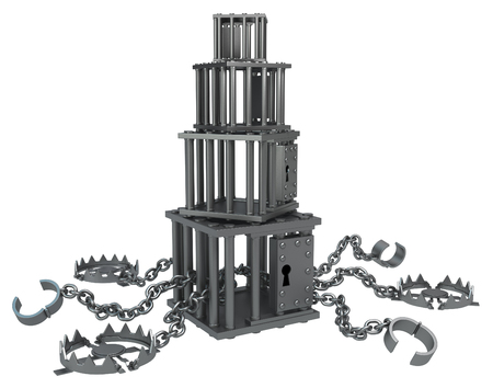 manacles: Traps chain with cage stack, dark metal 3d illustration, isolated, horizontal, over white