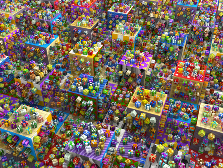 3d weird: Gift boxes large group 3d illustration, surreal floor, horizontal
