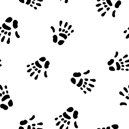 Hand prints black, seamless tile vector texture pattern Illustration