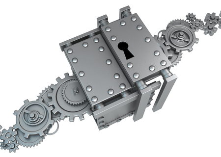 Gears lock metal 3d illustration, isolated, horizontal, over white Stock Photo