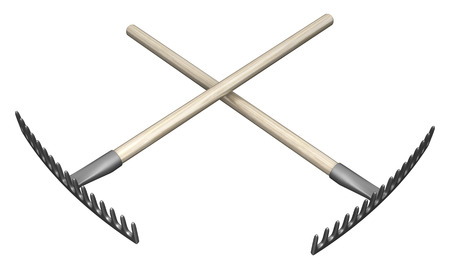 Metal rake garden tools two crossed 3d illustration, isolated, horizontal, over white