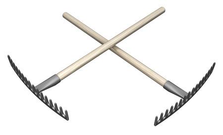 Metalen rake tuingereedschap twee gekruiste 3d illustratie, geïsoleerd, horizontaal, over wit