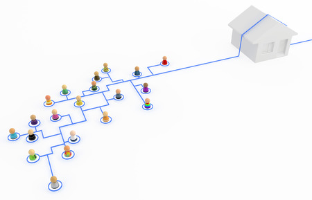 Crowd of small symbolic 3d figures linked by lines, house bypass system, isolated Stock Photo