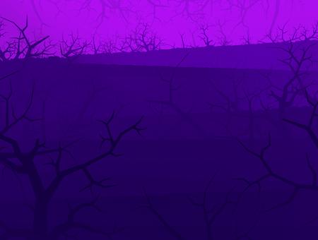 Purple light dark shadow forest stylized Halloween background, 3d illustration, horizontal