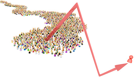 Crowd of small symbolic figures, one bounce arrow, 3d illustration, horizontal, over white Stok Fotoğraf