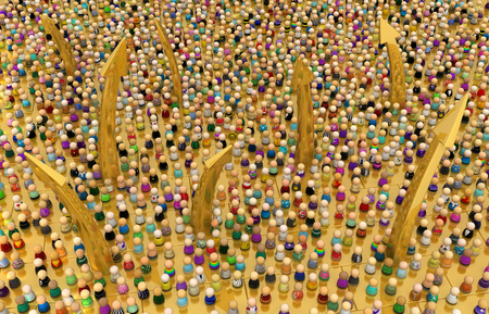Crowd of small symbolic figures, golden arrow rise, 3d illustration, horizontal Imagens