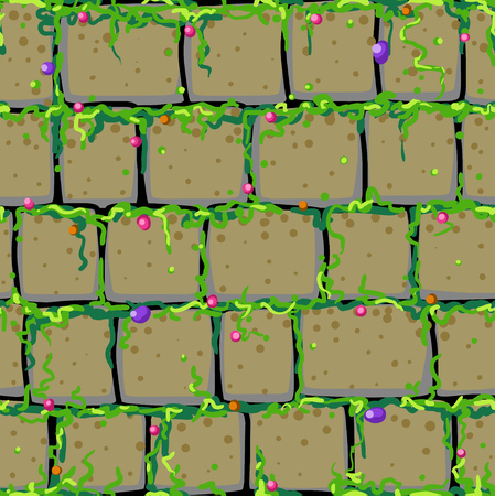 Old stone wall cartoon, seamless tile vector texture pattern, square