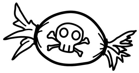Tödliches Süßigkeit stilisiertes Schablonenschwarz, Halloween-Vektorillustration, horizontal, lokalisiert