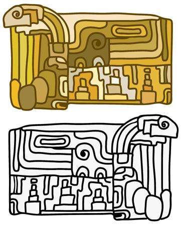 Mayan tablet design cartoon drawing, black and color versions, vector illustration, over white Иллюстрация