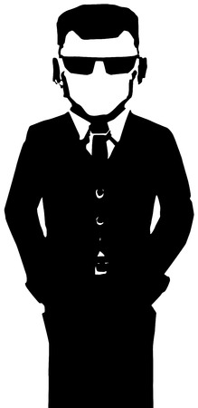 Agent figure stylized stencil black, vector illustration, vertical, isolated