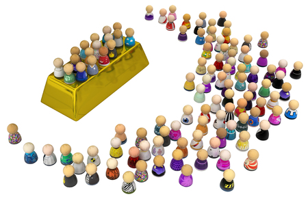 Crowd of small symbolic figures, gold bar, 3d illustration, isolated, horizontal, over white