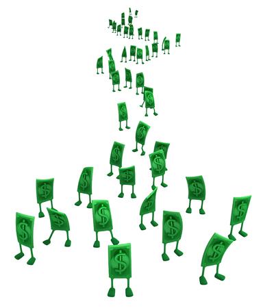 Dollar money symbol cartoon characters queue, 3d illustration, horizontal, isolated, over white Stok Fotoğraf