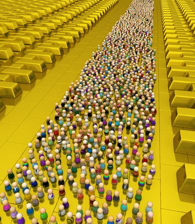 Crowd of small symbolic figures, golden reserve, 3d illustration, horizontal