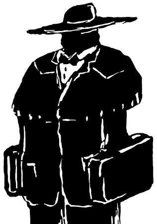 Traveler figure stylized stencil black, vector illustration, vertical, isolated Illustration