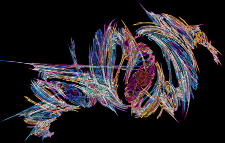 Light color neon tornado abstract, horizontal, isolated, over black