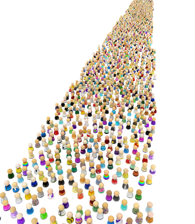 Crowd of small symbolic figures, long parade, 3d illustration, isolated, vertical, over white Stock Photo