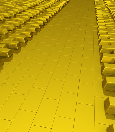 expensive: Golden reserve empty storage surface, 3d illustration, vertical