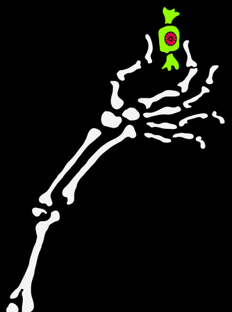 Skeleton Halloween cartoon arm with candy, vector illustration, vertical, isolated