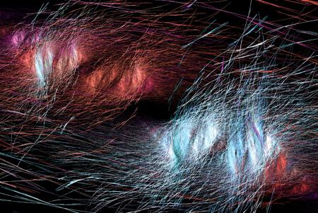 Fiber small splitting color threads abstract, horizontal, dark background Stock Photo