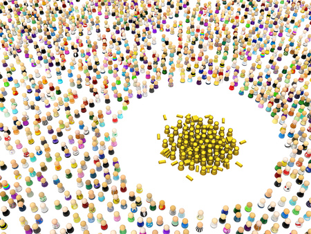 Crowd of small symbolic figures, golden group, 3d illustration, horizontal, isolated, over white