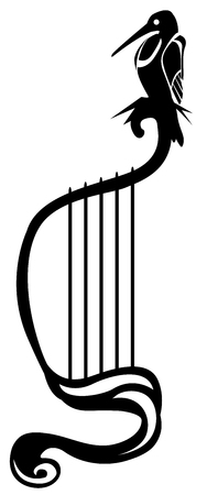 Harp bird stylized symbol black, vector illustration, vertical, isolated Illustration