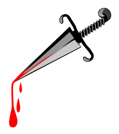 Murder weapon dagger cartoon, horizontal, vector illustration, isolated
