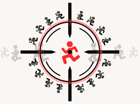Snipe aim target with people figures, vector illustration color cartoon, horizontal