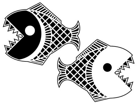 ブラック ピラニア様式化されたステンシル、ベクトル図では、水平方向、分離
