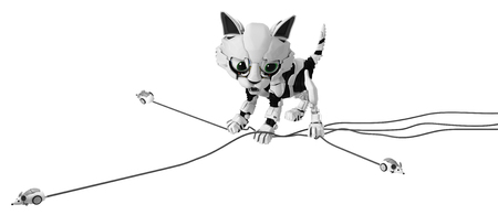 Robotic kitten with computer mice, catching several simultaneously, 3d illustration, horizontal, isolated