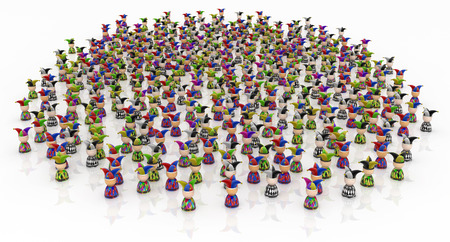 Crowd of small symbolic jester figures, 3d illustration, horizontal, isolated, over white
