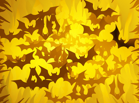 Bats shadow, gold color light abstract 3d illustration, horizontal