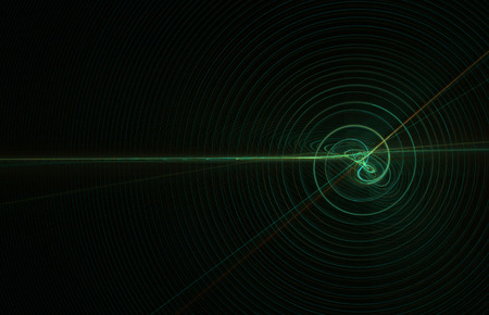 Light wave blue signal line abstract, horizontal, dark background Banco de Imagens