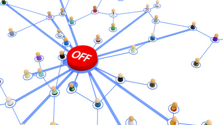 Crowd of small symbolic 3d figures linked by lines, turn off button, over white, isolated, horizontal Stock Photo