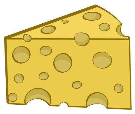 Cheese yellow slice cartoon color design element, illustration. Çizim