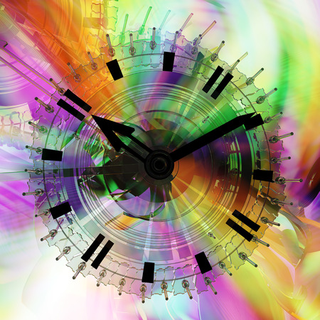 unreal: Time flow clock color light spectrum fantasy abstract 3d illustration, horizontal