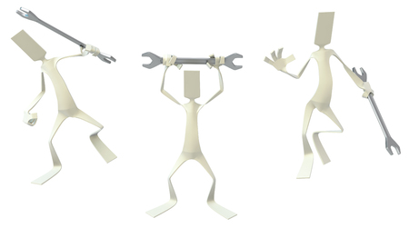 Paper man symbolic figures poses standing with spanner, 3d illustration, horizontal, isolated