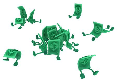 ドルお金シンボル漫画のキャラクターが座っている、3 d イラスト、水平、分離、白