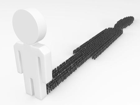 White abstract figure dark people shadow, 3d illustration, horizontal Stock Photo