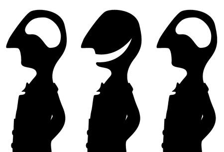 Het hersenenloze driepersoons zwarte silhouet van de grapcartoon, vectorillustratie, horizontaal, geïsoleerd, over wit