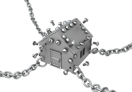 Metal plate small house symbol chained, 3d illustration, horizontal, isolated, over white Stock Photo