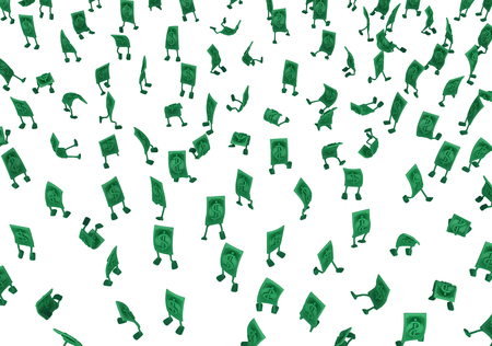Dollar money symbol cartoon characters crowd, 3d illustration, horizontal, isolated, over white