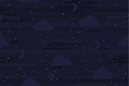 Night sky dark, seamless vector texture pattern, horizontal background.